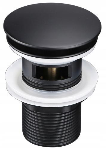 Заглушка для умывальника CLICK-CLAMP черная с переливом