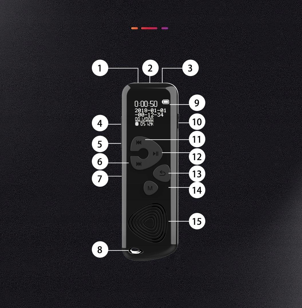 Szpiegowski Dyktafon cyfrowy 1024Kbps 8GB detekcja Obsługa kart pamięci nie