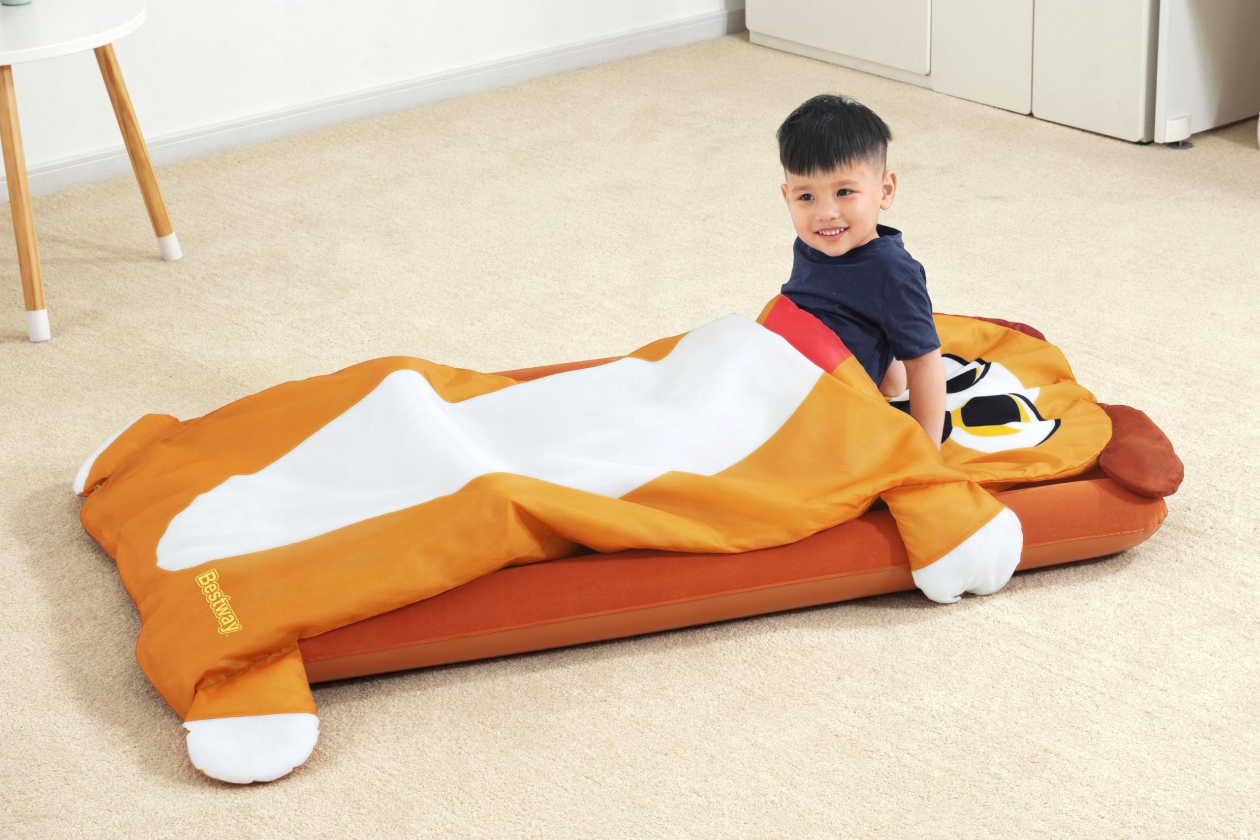 MATERAC DMUCHANY +ŚPIWÓR dla dzieci PIESEK BESTWAY Długość 158 cm