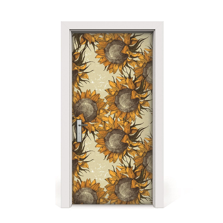 Nálepka na dvere Retro slnečnice dyha 95x205