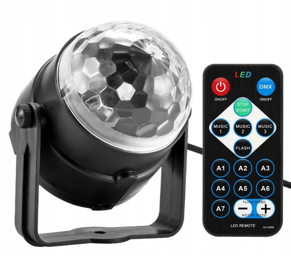 DISCO BALL PROJECTOR RGB LED HOVEDLYS Modell RGB DISC BALL MED FJERNKONTROLL