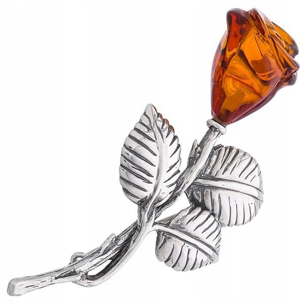 Brošňa silver rose s Jantárom Pol