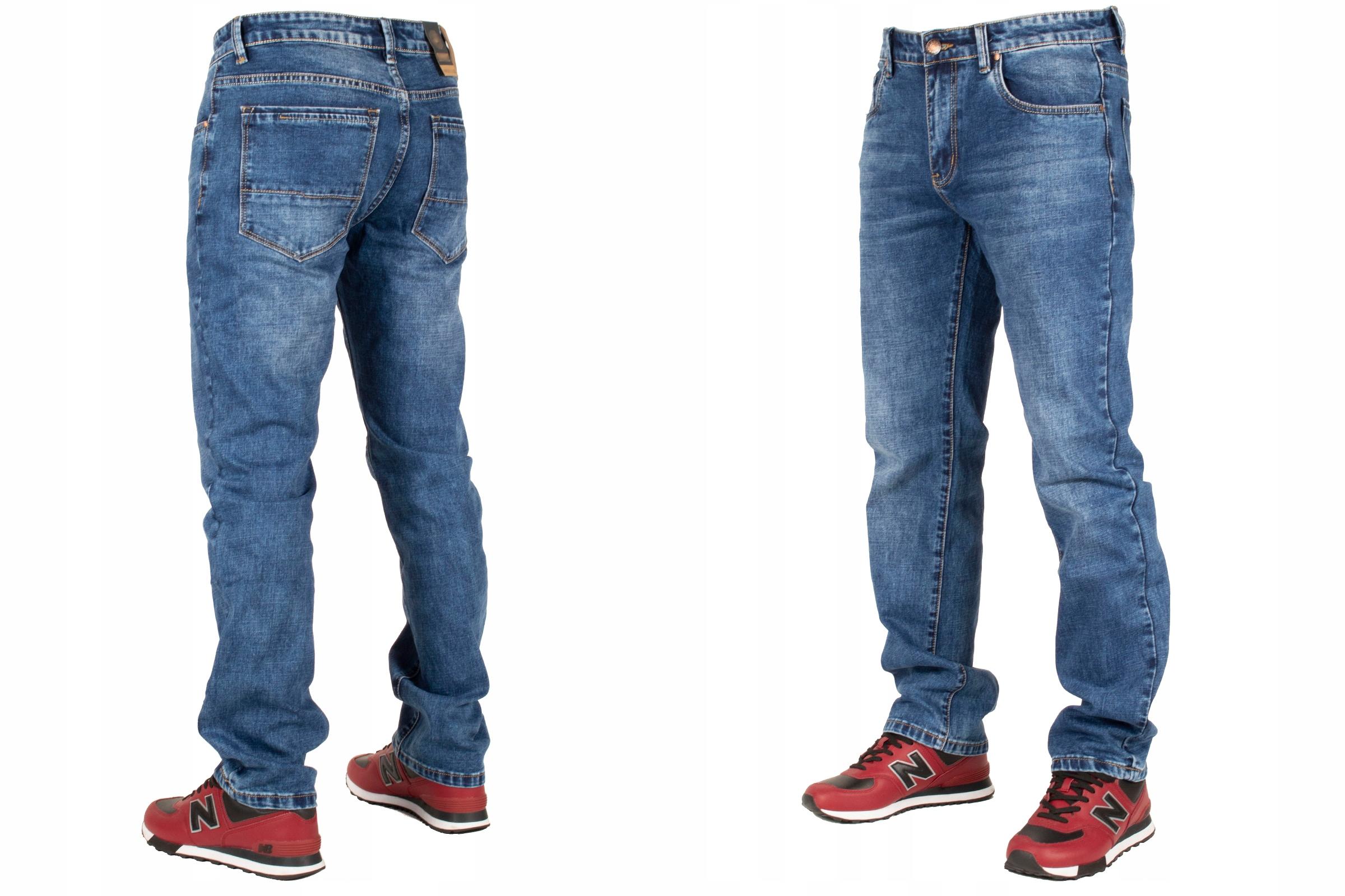 Spodnie męskie jeans W:42 114CM L:32 granatowe