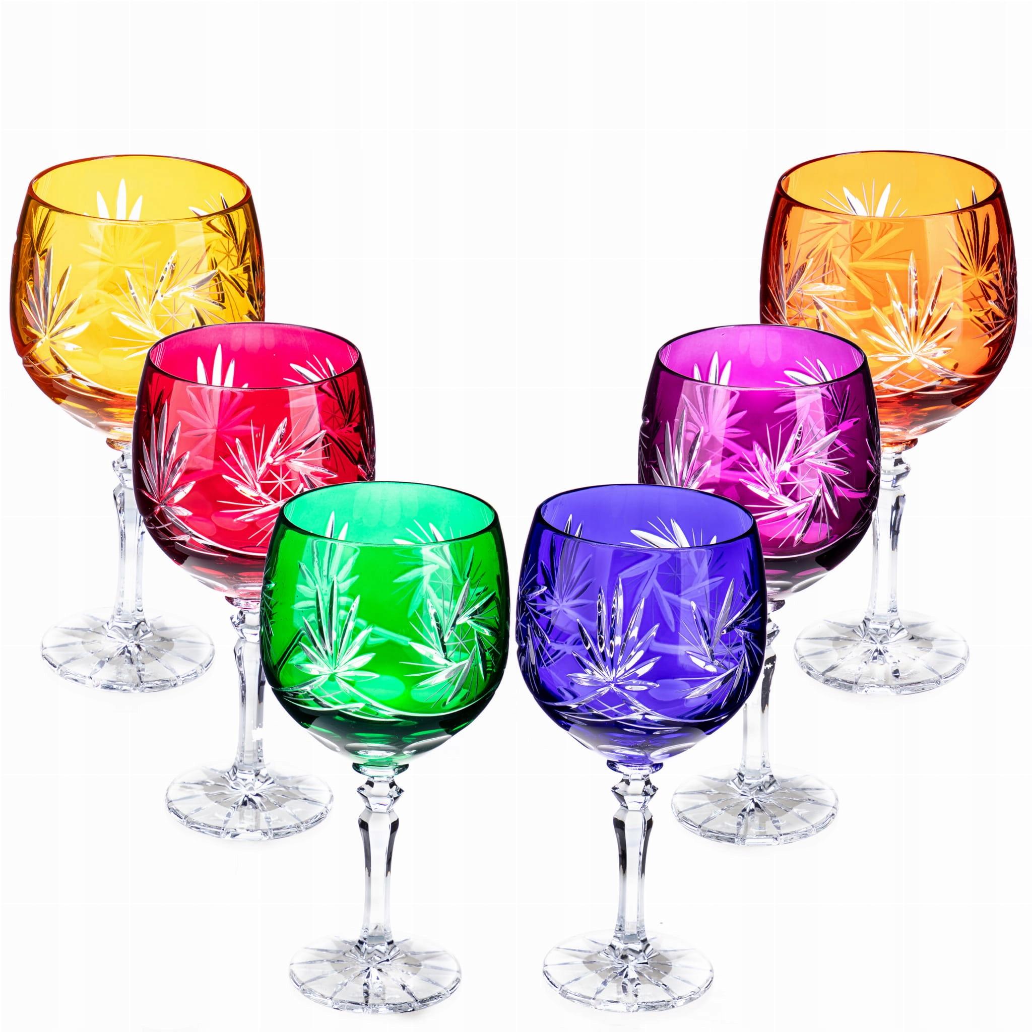 Sada 6 viacfarebných retro krištáľových pohárov