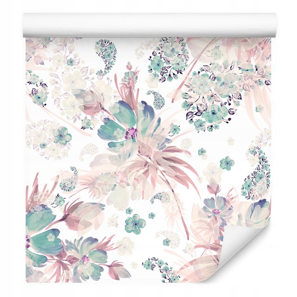 Tapeta liście kwiaty rośliny pastelowe do sypialni