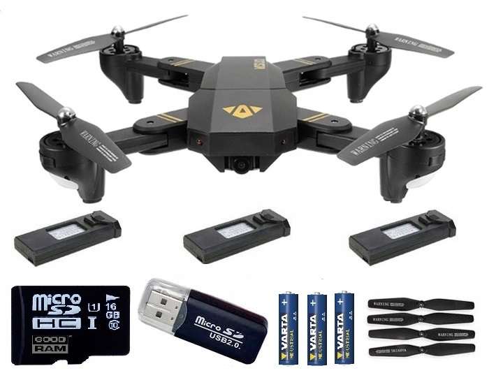Dron Visuo XS809HWG 3AKU FPV 720p Karta 16GB Full