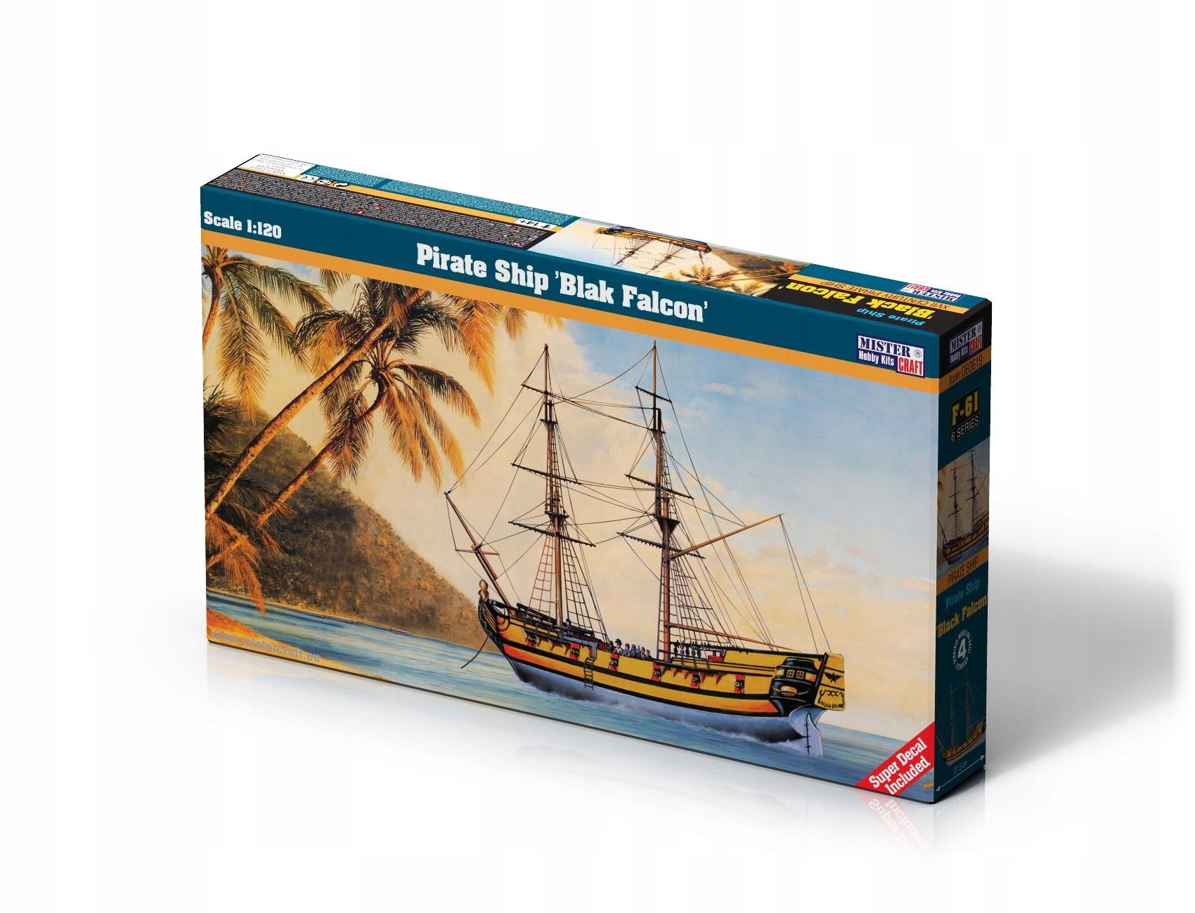 Model Loď Pirát Black Falcon Lepidlo + utečenca
