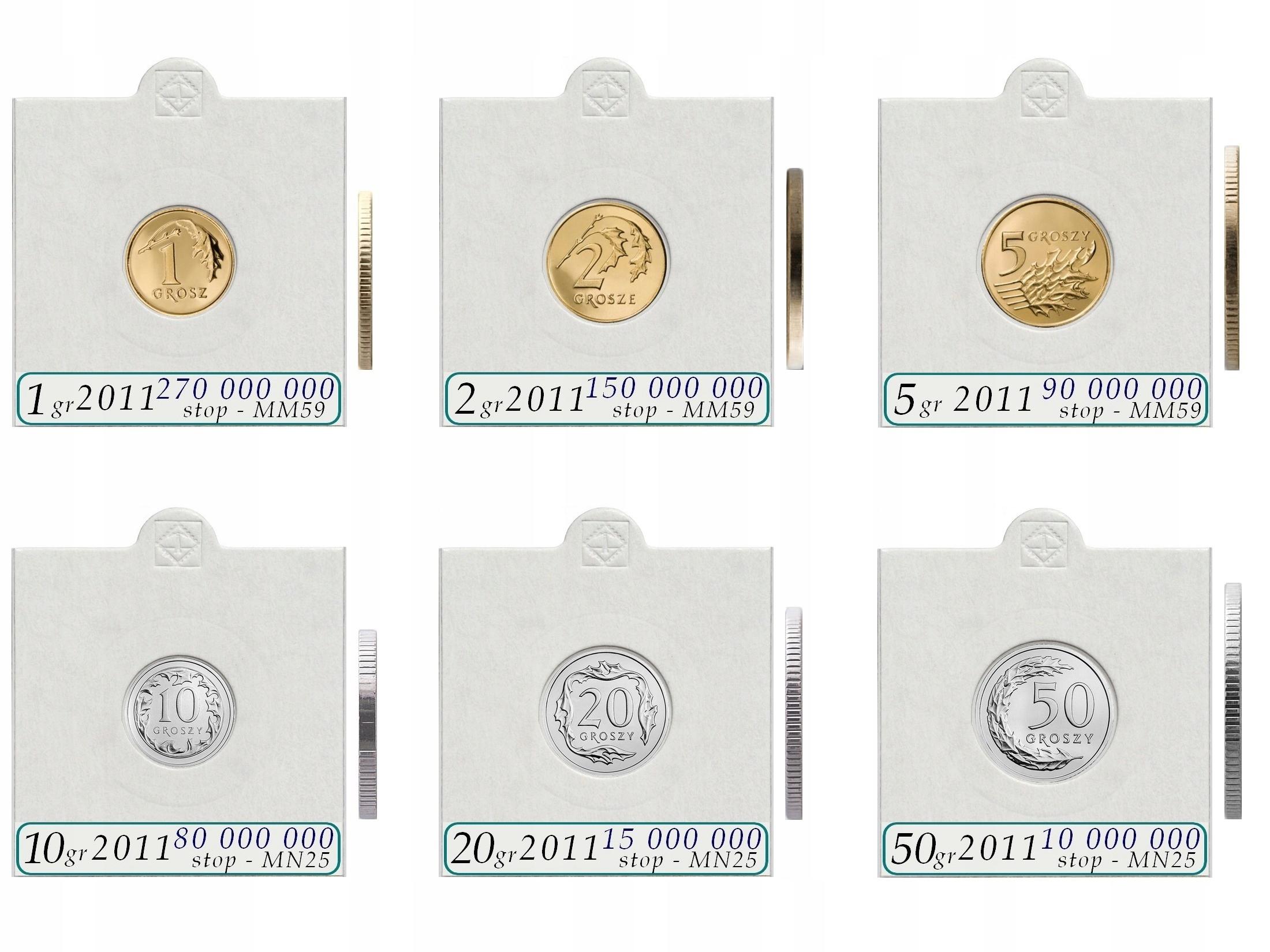 Komplet 6 monet obiegowych 2011 + holdery + opisy