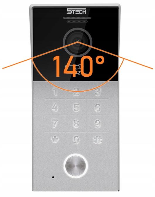 ZESTAW WIDEODOMOFON MONITOR 7' WIFI 5TECH KOD RFID Kamera w panelu zewnętrznym Bez regulacji