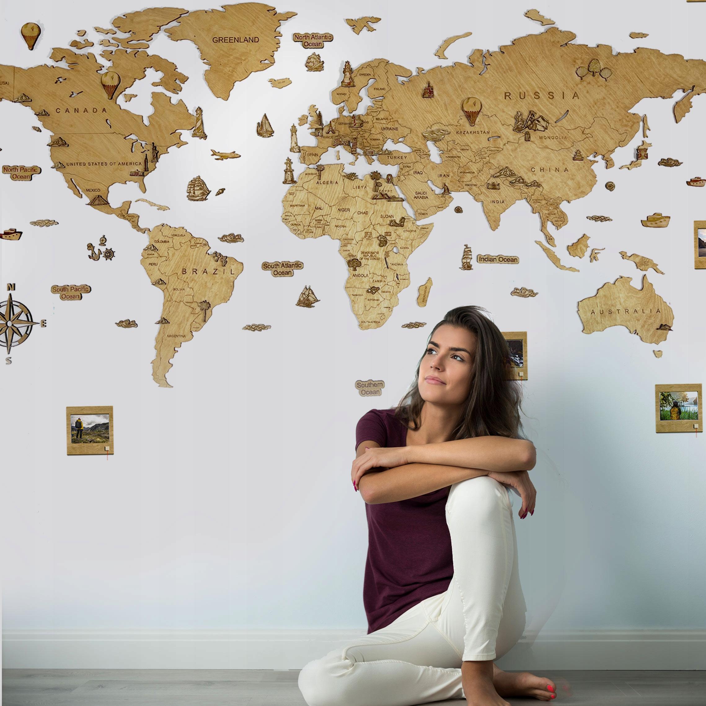 Деревянная карта мира Подарок на день рождения для нее