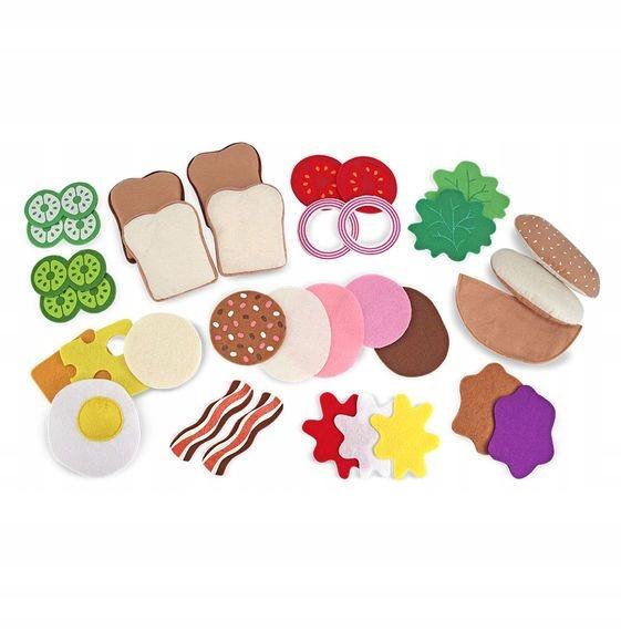Detské hračky. Plstené sendviče. Zábava v obchode