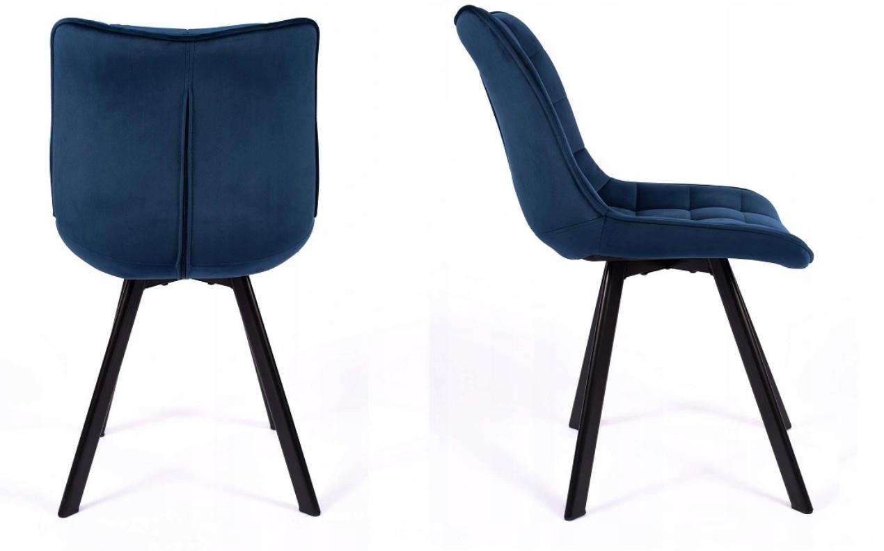 Krzesło Tapicerowane Pikowane Granatowe Welur Głębokość mebla 61 cm