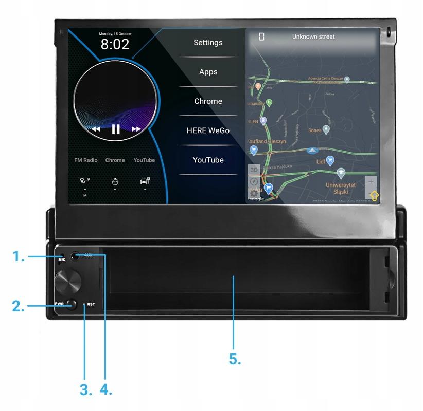 экран радио 7 '1 din android 8.1 камера gps usb