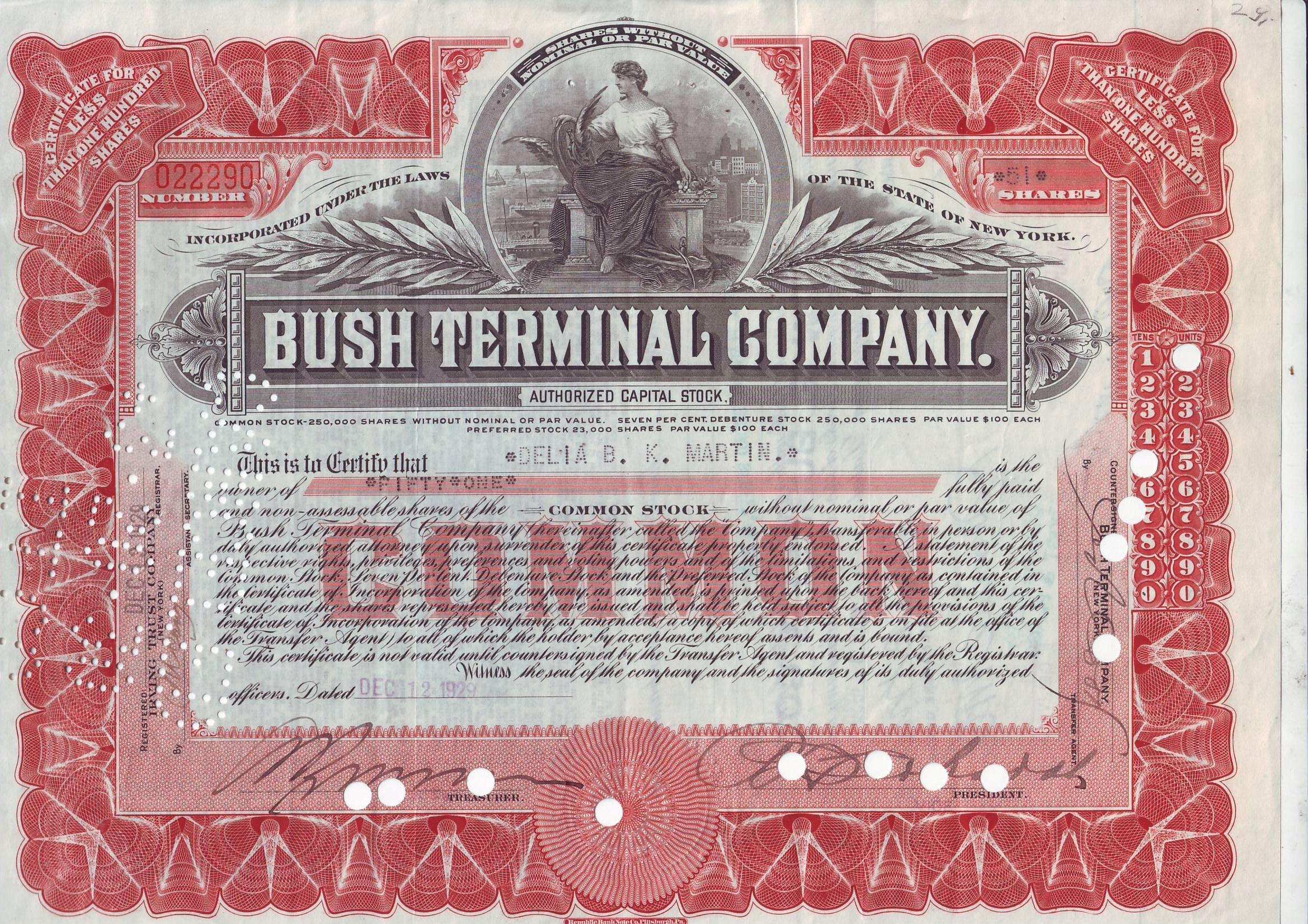 Bush Terminal, 51 akcji z 1928 r.
