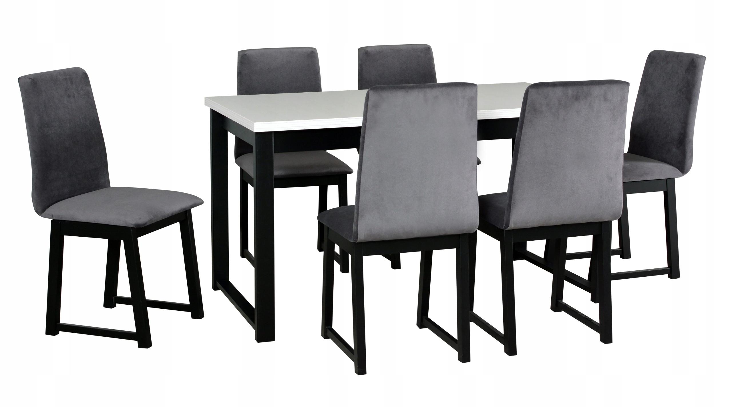 Zestaw STÓŁ rozkładany 140x80 + 6 krzeseł LOFT