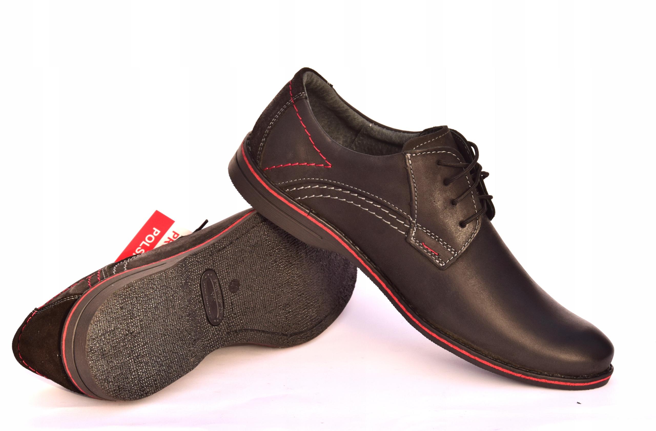 Buty męskie casual obuwie skórzane polskie 242 Materiał zewnętrzny skóra naturalna