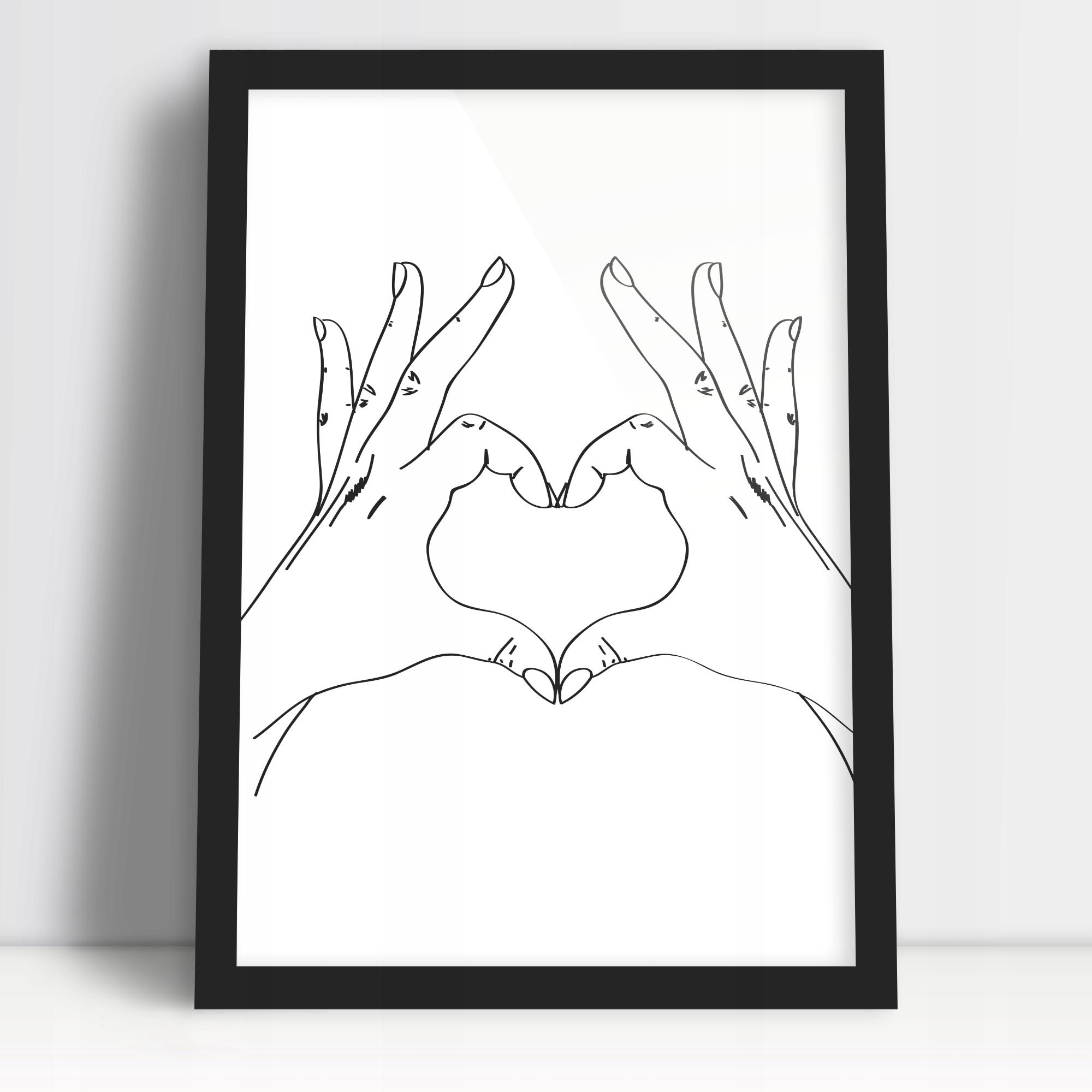 Плакат для любимого на День святого Валентина руки в рамке А3