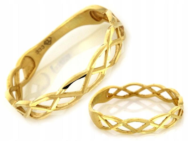 Pierścionek Złoty Ażurowy Przeplatany 333 15
