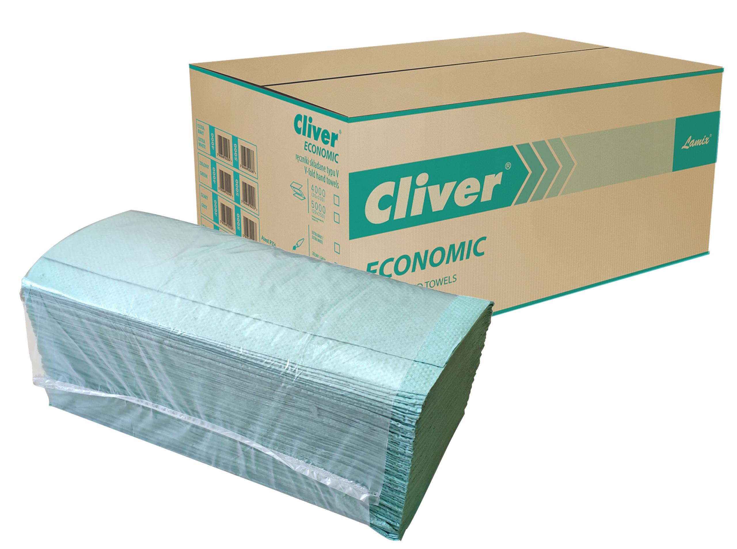 Бумажные полотенца складывающиеся зеленые Cliver 4000pcs