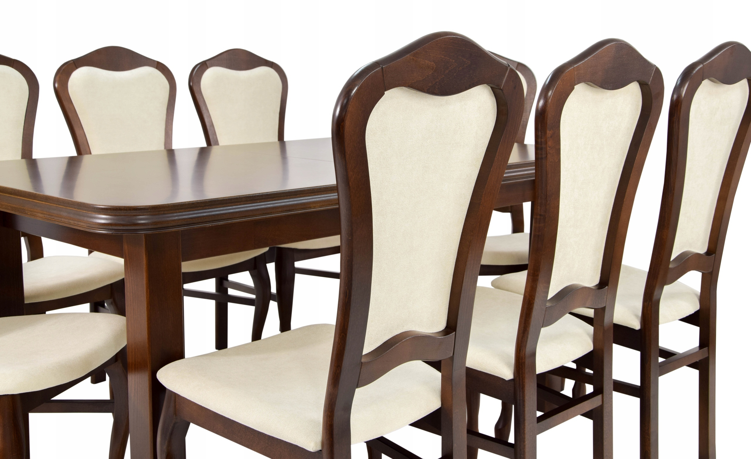 8 stoličiek a veľký jedálenský stôl z masívu Doska Lícová