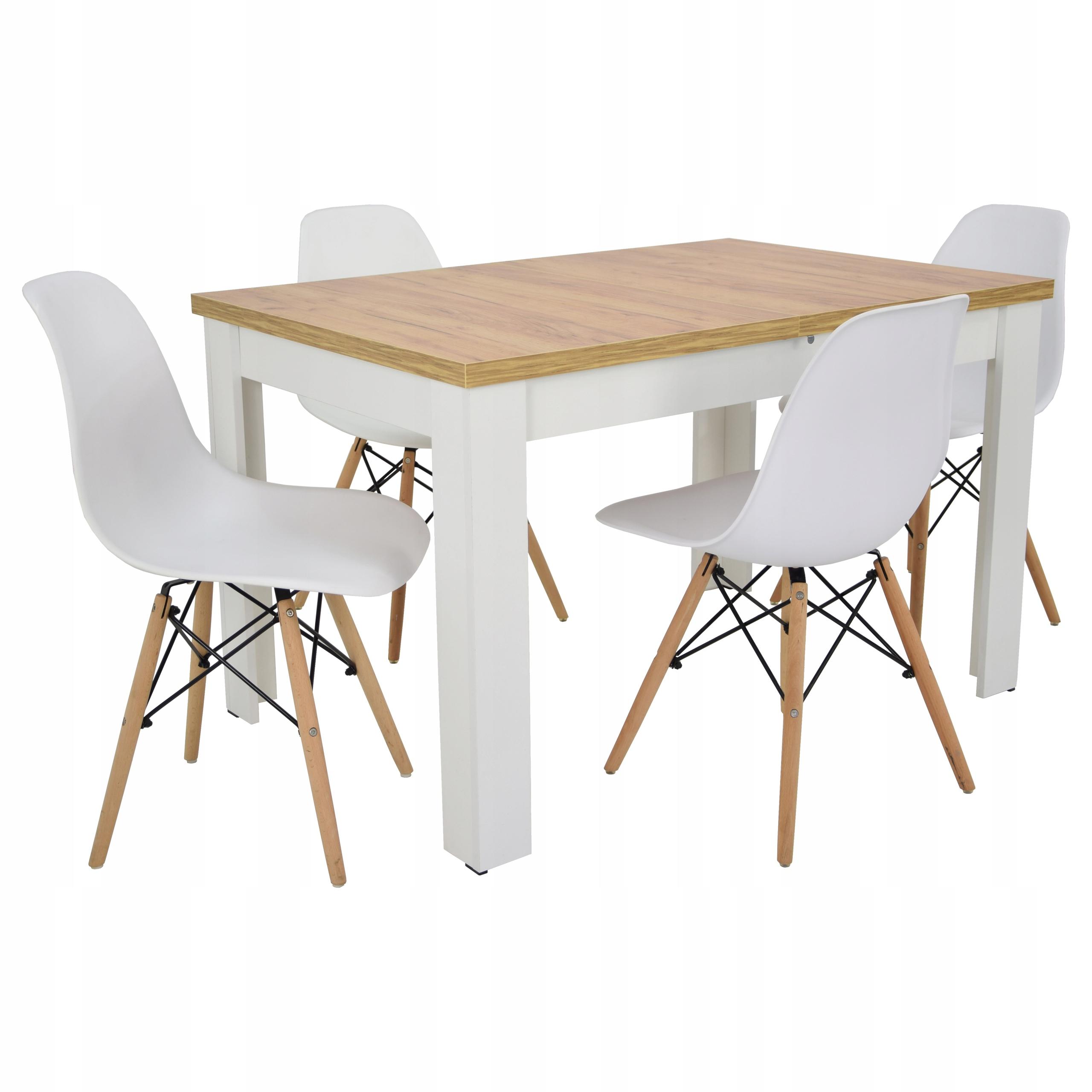 nowoczesny ZESTAW stół i 4 krzesła biały DO SALONU