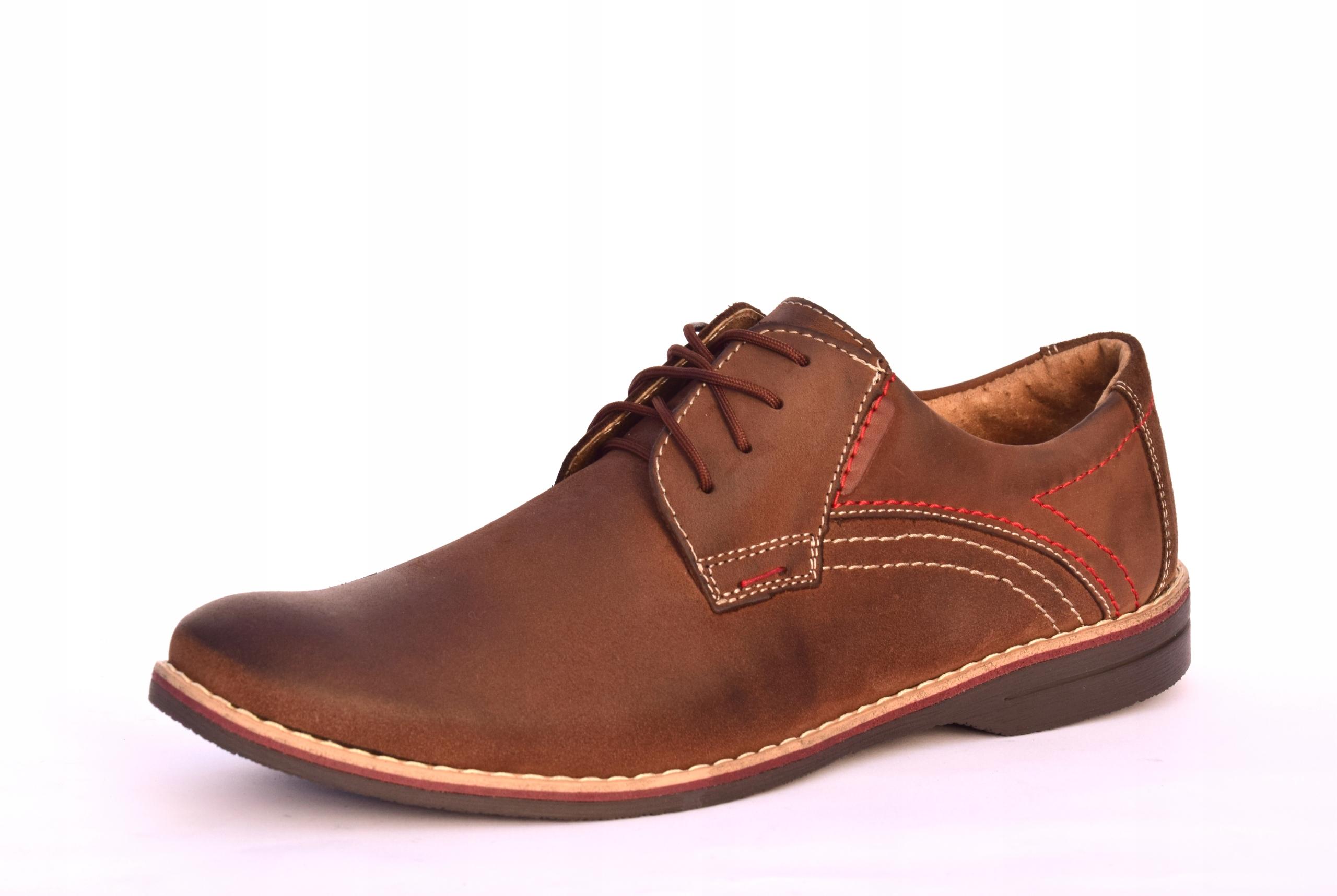 Buty męskie brązowe obuwie skórzane polskie 242