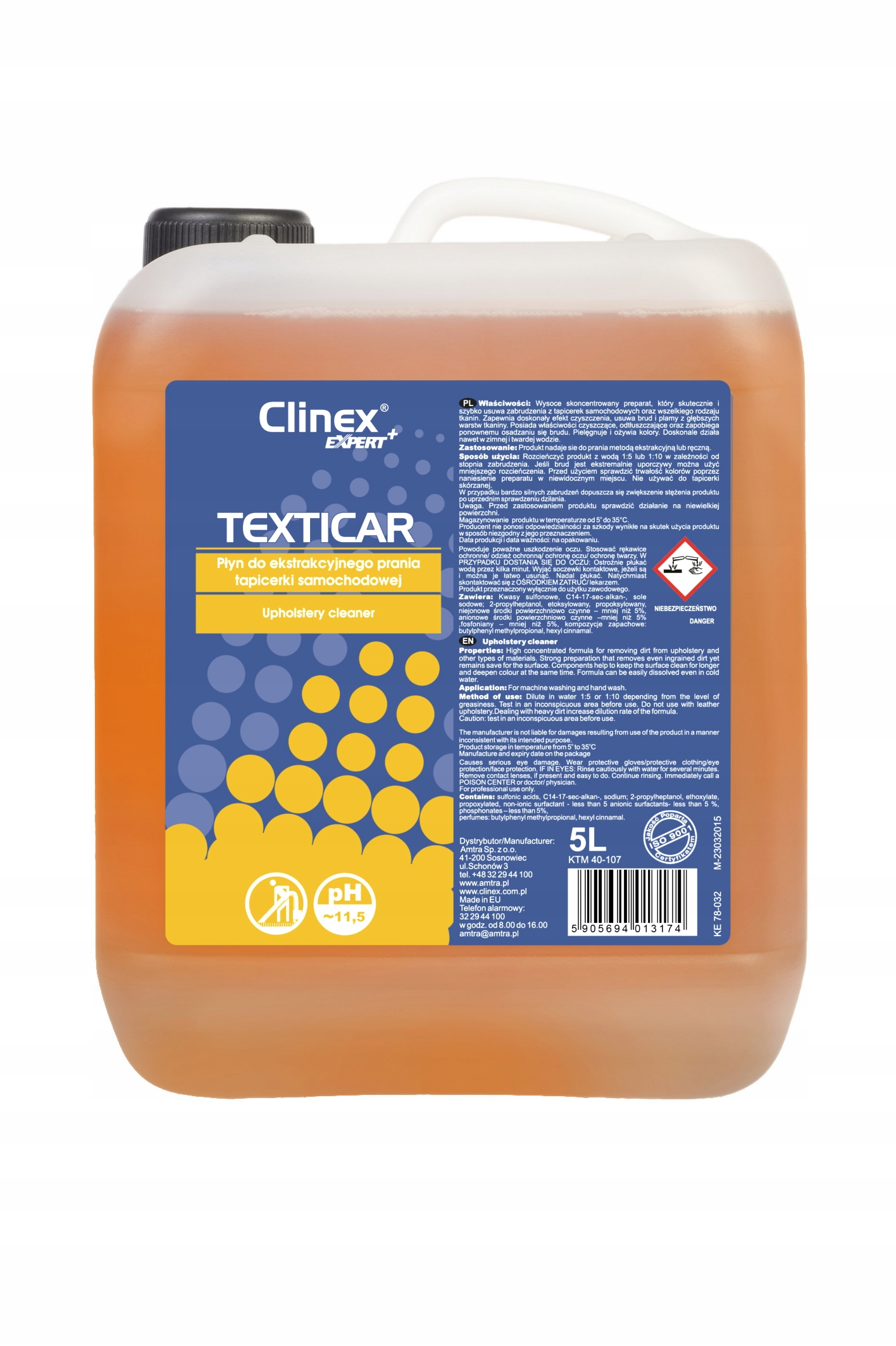 CLINEX TEXTICAR Жидкость для мытья обивки 5л