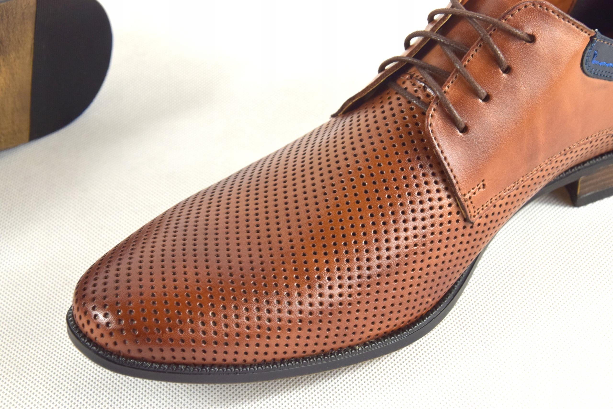 Buty męskie wizytowe skórzane brązowe obuwie 322 Materiał wkładki skóra naturalna