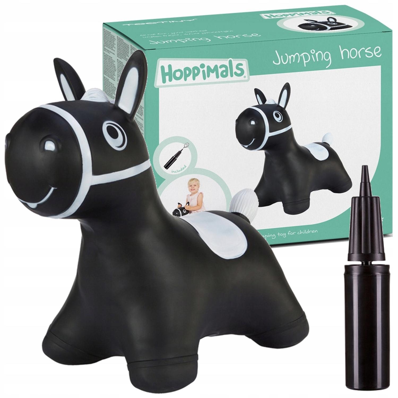 Gumowy skoczek Hoppimals konik czarny + pompka