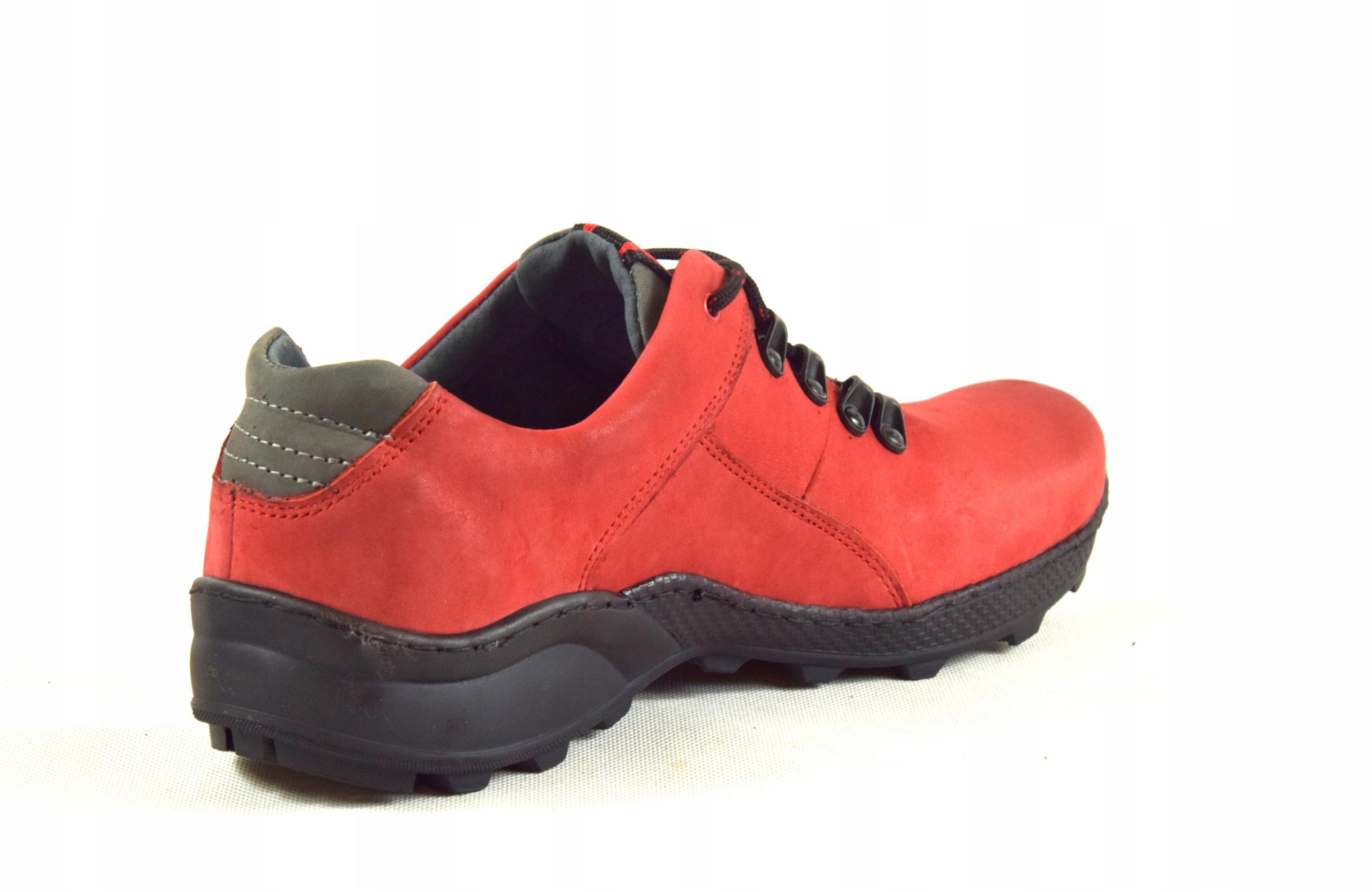 Półbuty czerwone trekkingowe męskie skórzane 296 Kolor czerwony