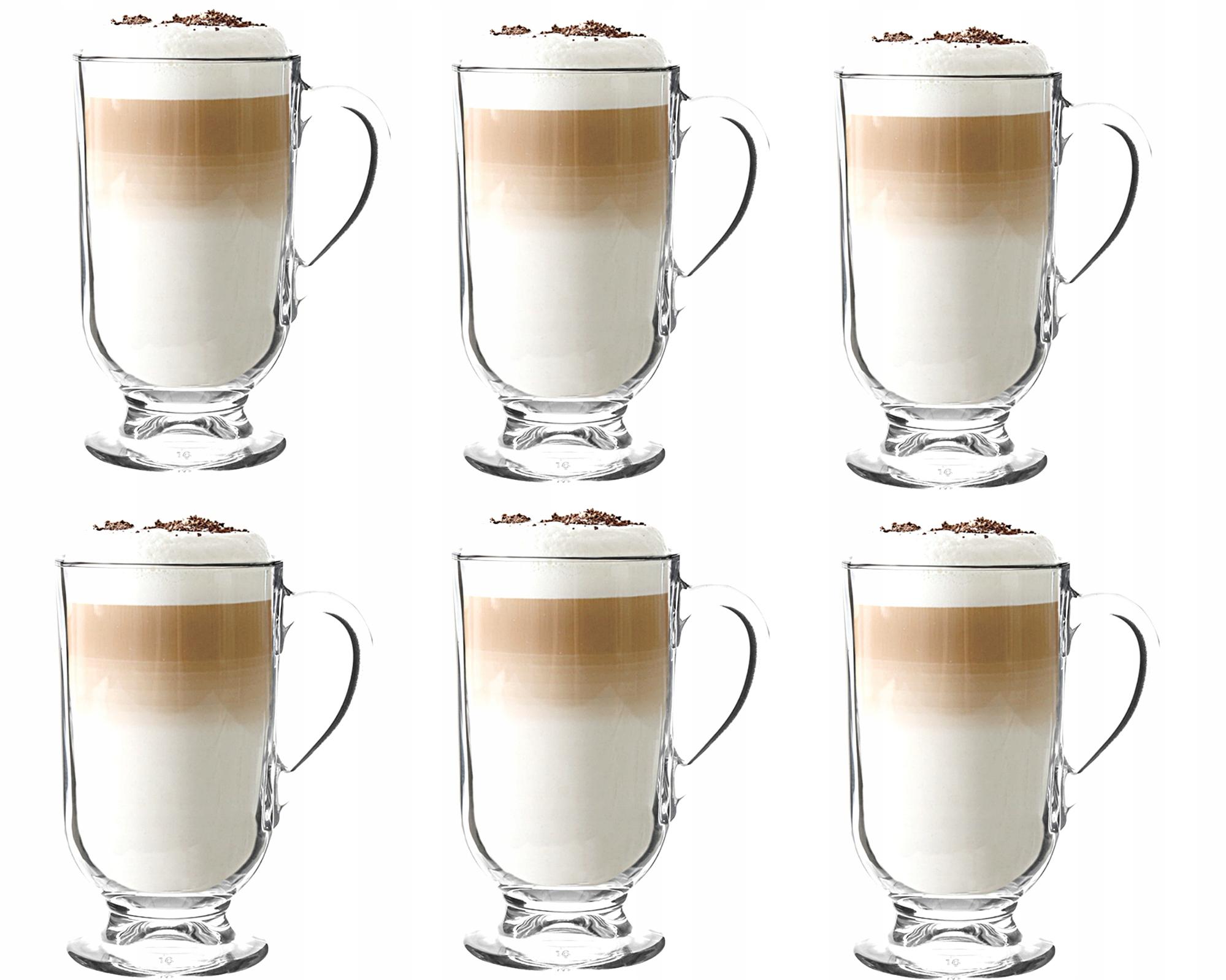 ZESTAW SZKLANKI DO KAWY LATTE Herbaty 300ml 6 szt