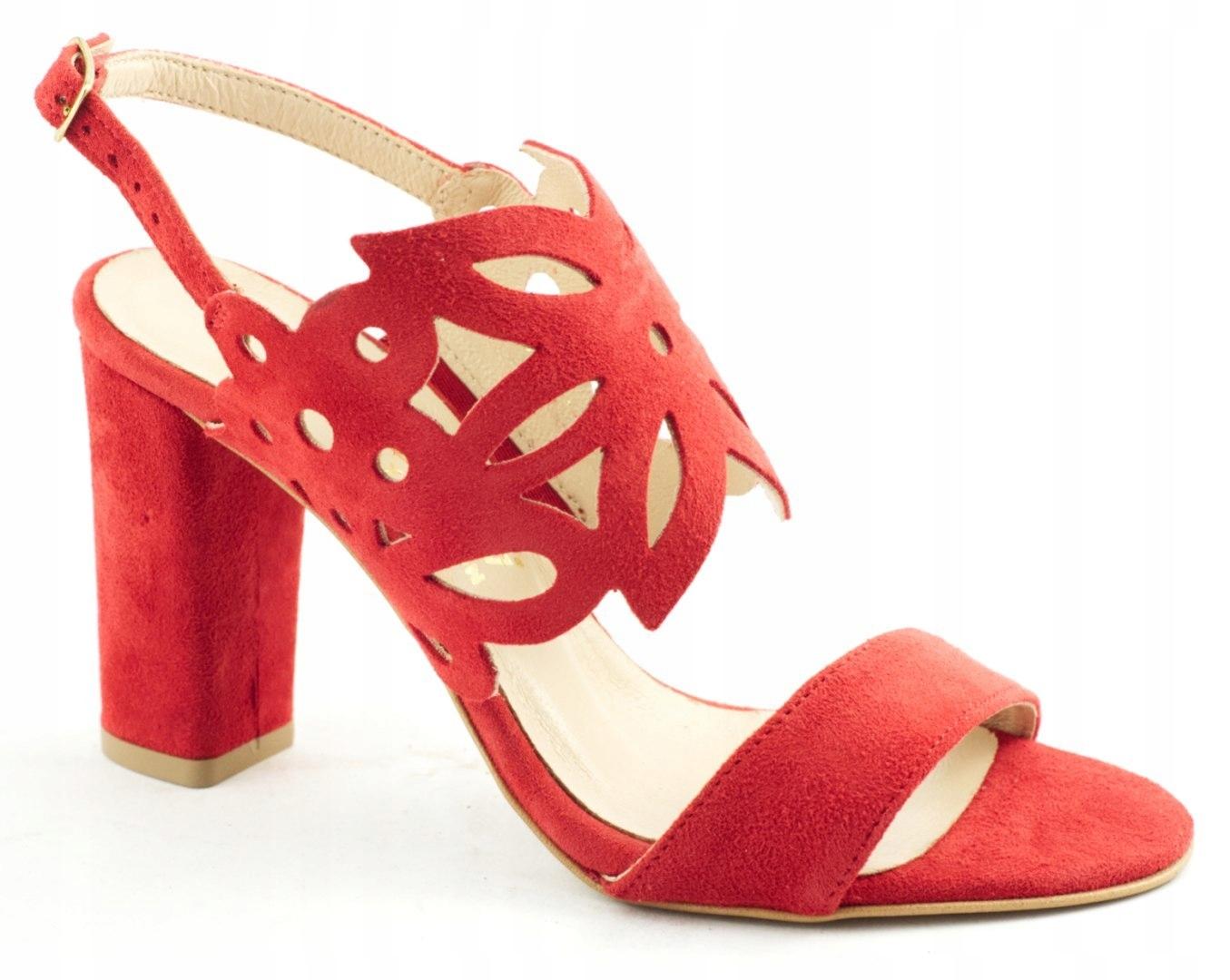 Sandały Damskie Na Słupku 02100 Czerwone 35