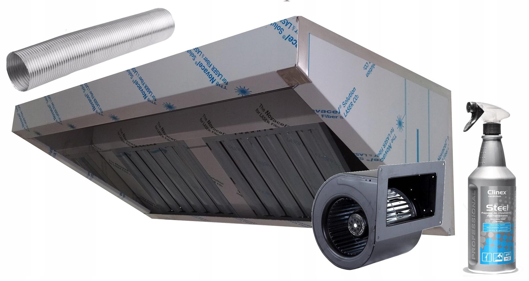 Okap gastronomiczny 150/70 filtr wyciąg 1750 m3hMM