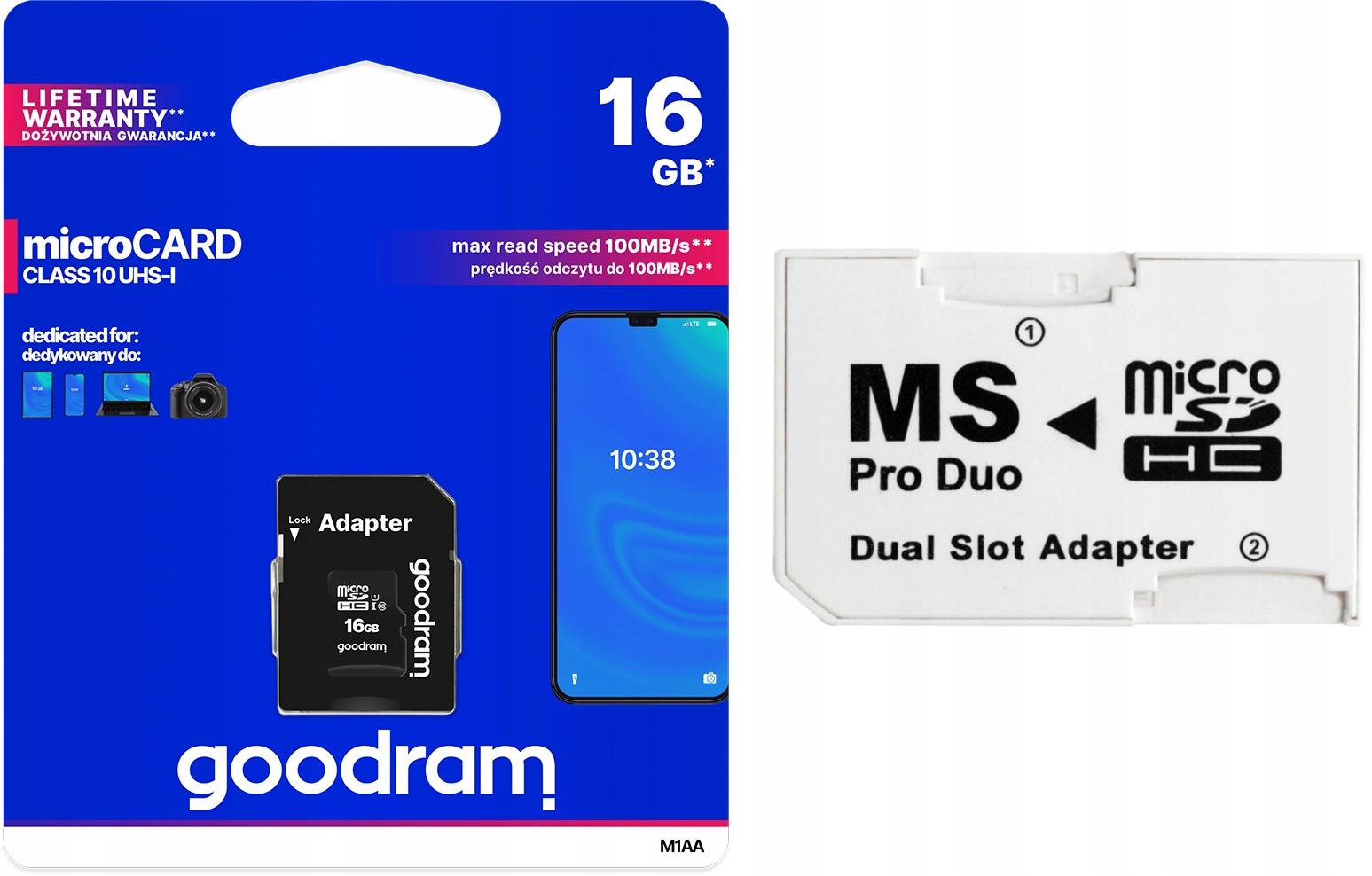 Adaptér MS PRO DUO + Goodram 16GB Class10 Sony PSP