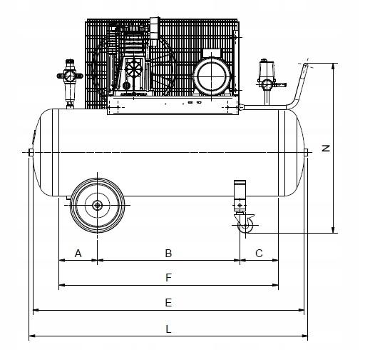 SPRĘŻARKA KOMPRESOR 200L ATLAS COPCO AC 31 E 200 M Układ zbiornika poziomy