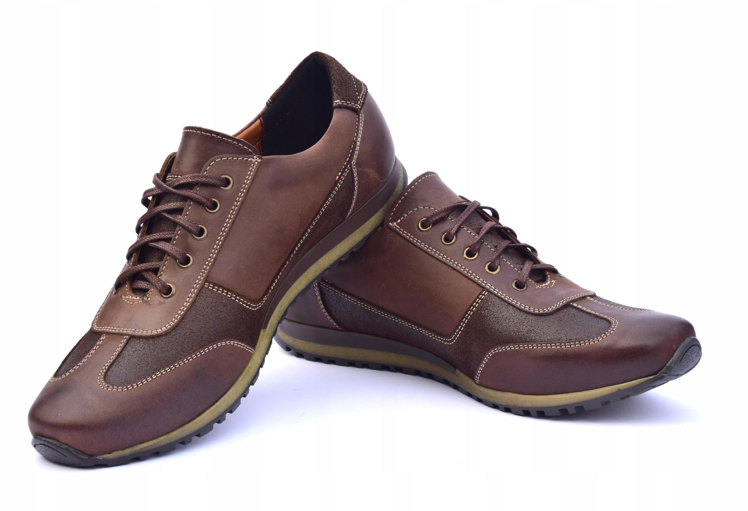 Półbuty skórzane brązowe obuwie ze skóry PL 294 Płeć Produkt męski