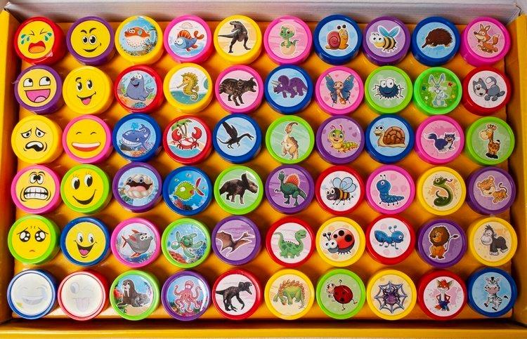 Sada gumových pečiatok pre deti 60 kusov