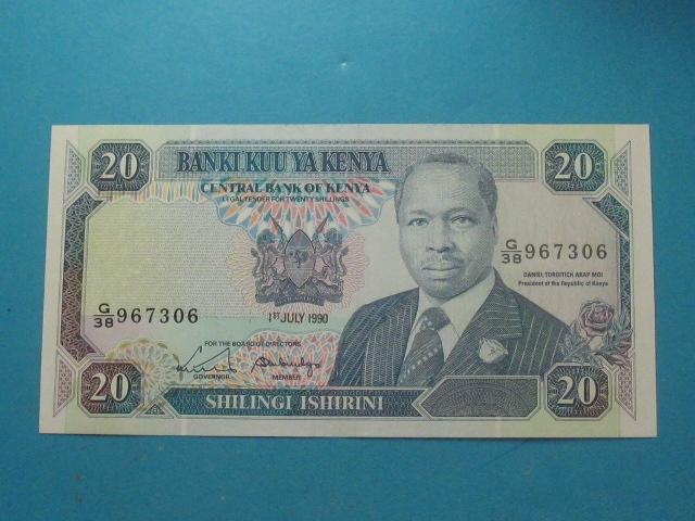 Kenia Banknot 20 Shillings 1990 UNC P-25c