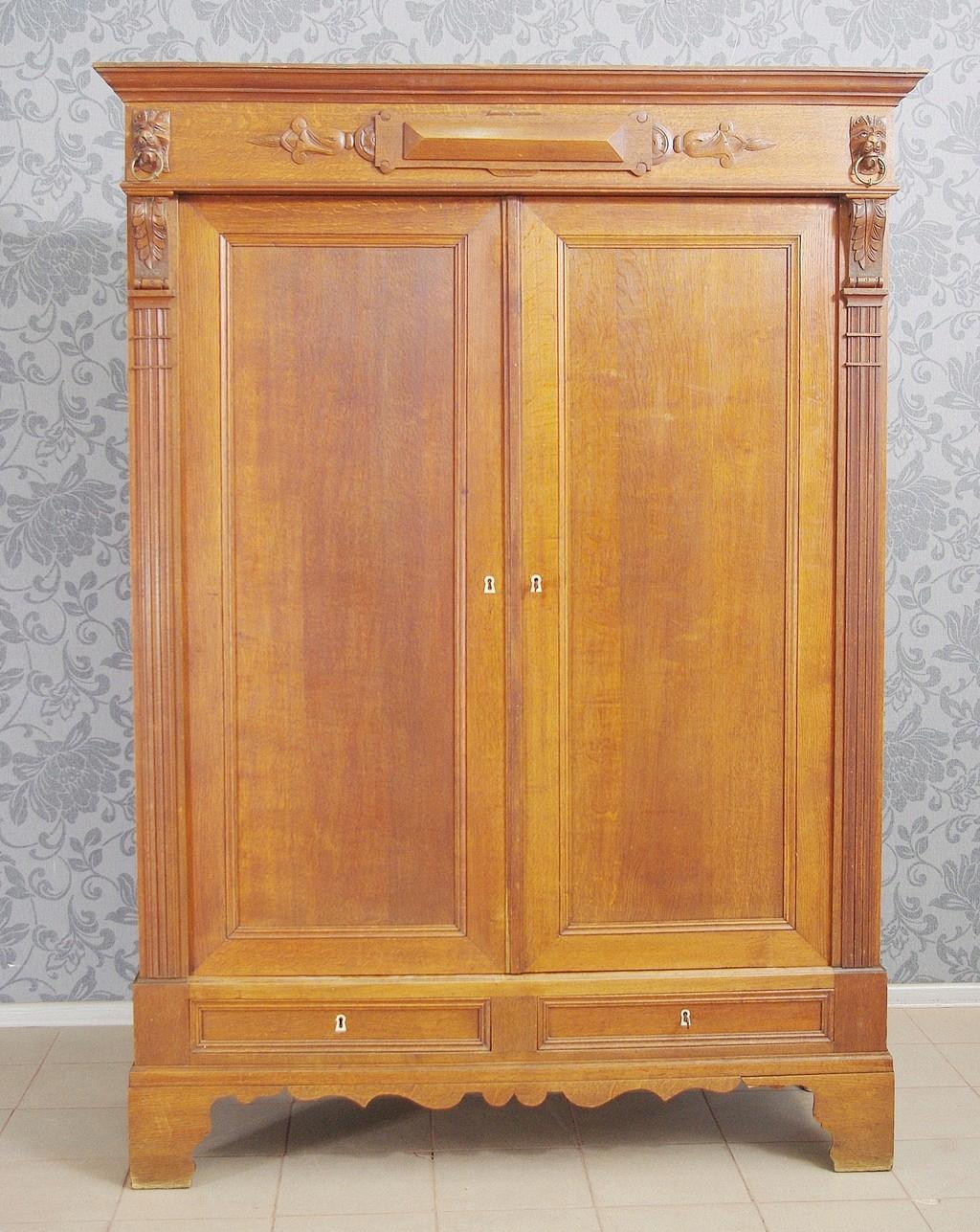 Szafa drewniana dębowa duża stara 6197