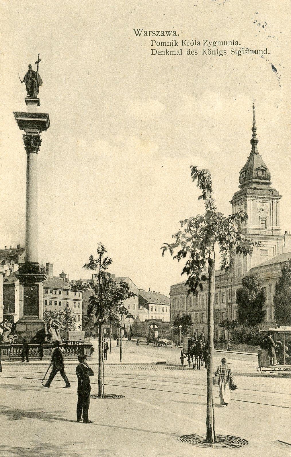 Warszawa. Pomnik Króla Zygmunta- 1916 stan bdb