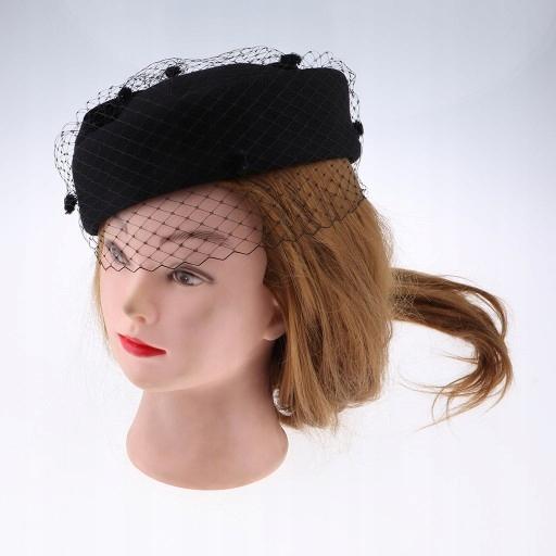 1 ks Fascinátor na klobúky na klobúky - čierny
