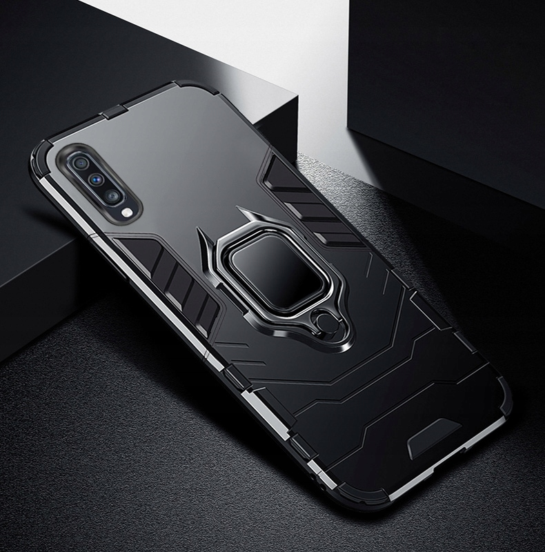 ETUI ARMOR RING HOLDER SZKŁO do Samsung Galaxy A50 Kolor czarny