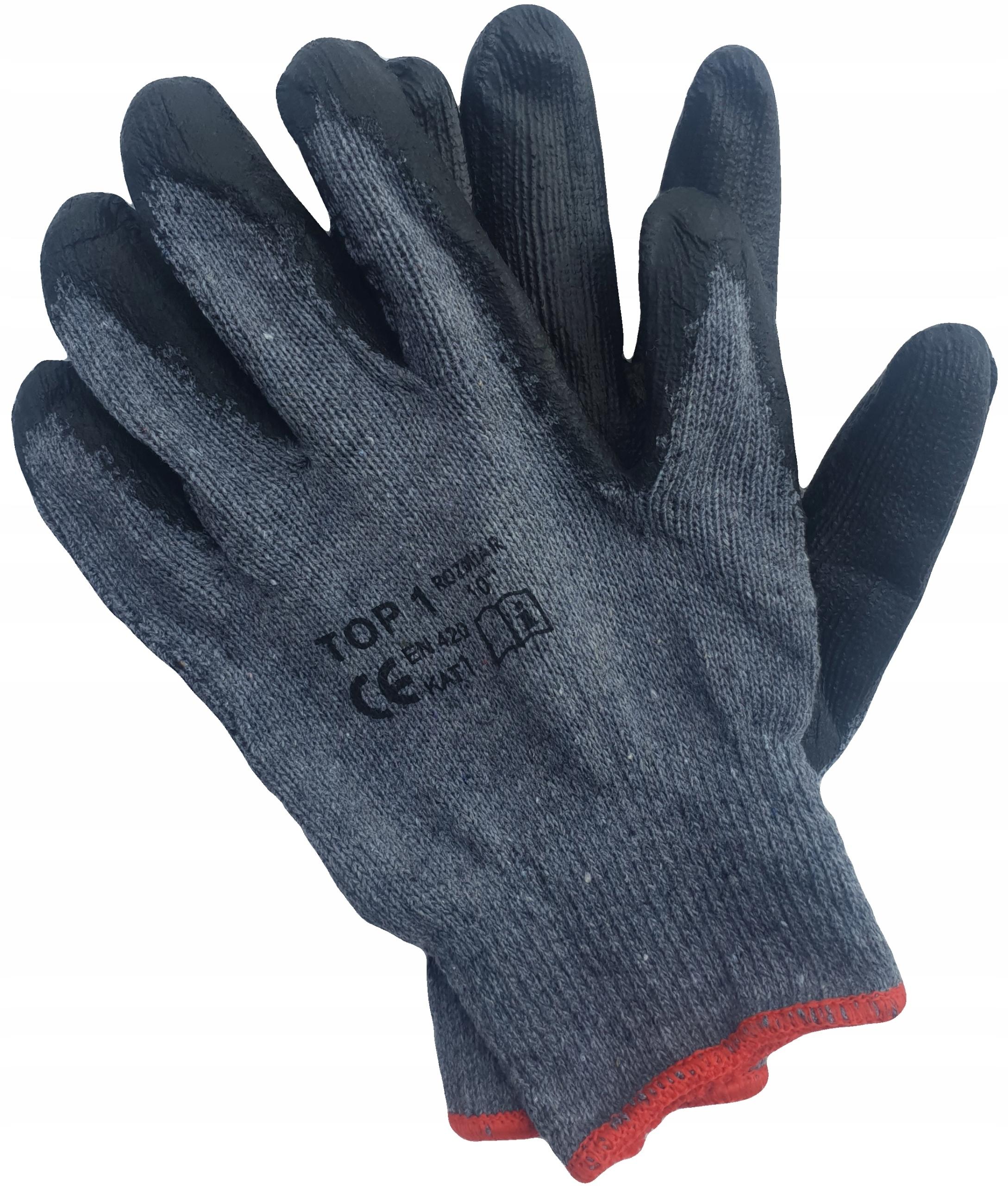 Rękawice rękawiczki robocze LATEKSOWE mocno oblane
