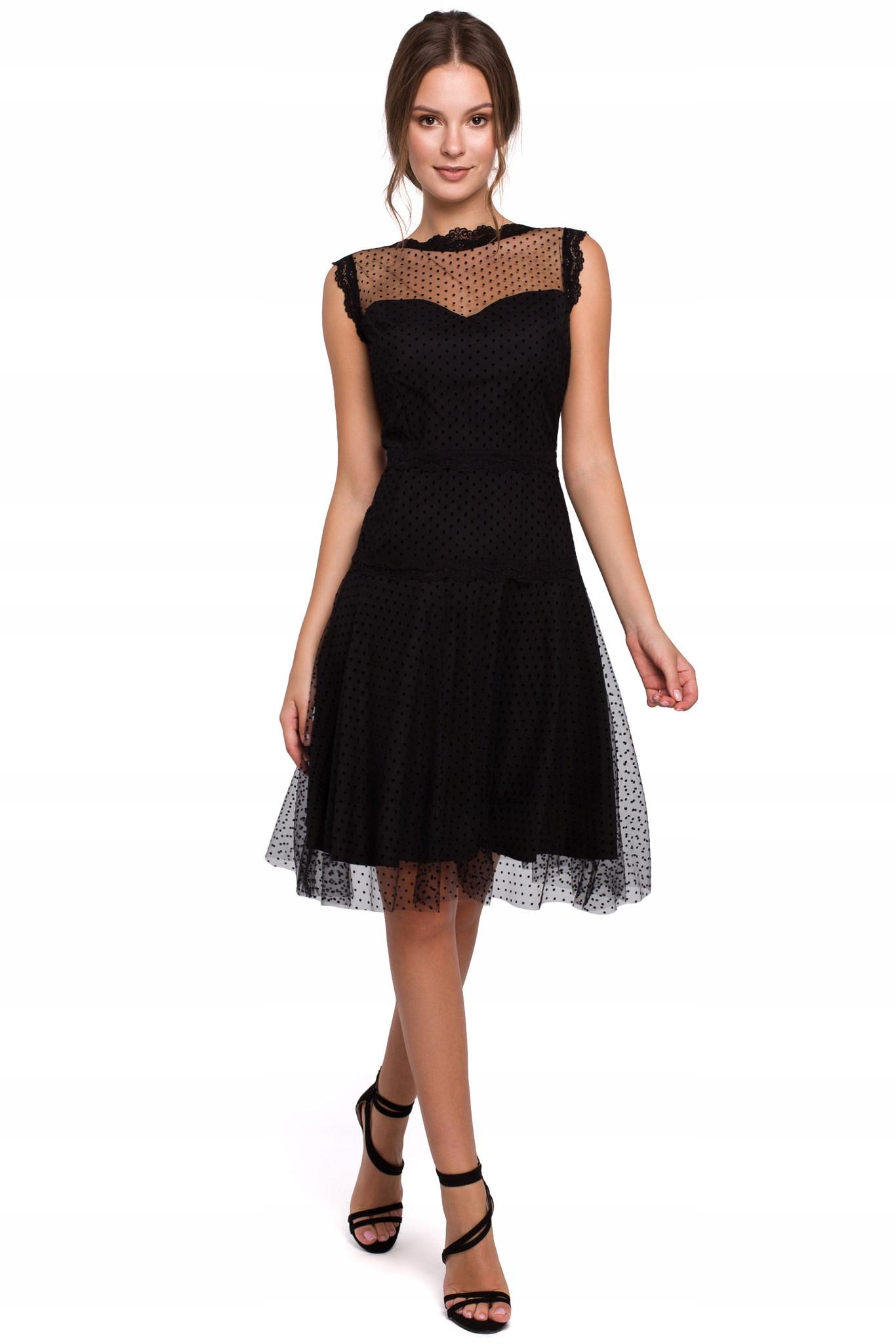 Koktajlowa Sukienka w Groszki z Tiulem XL