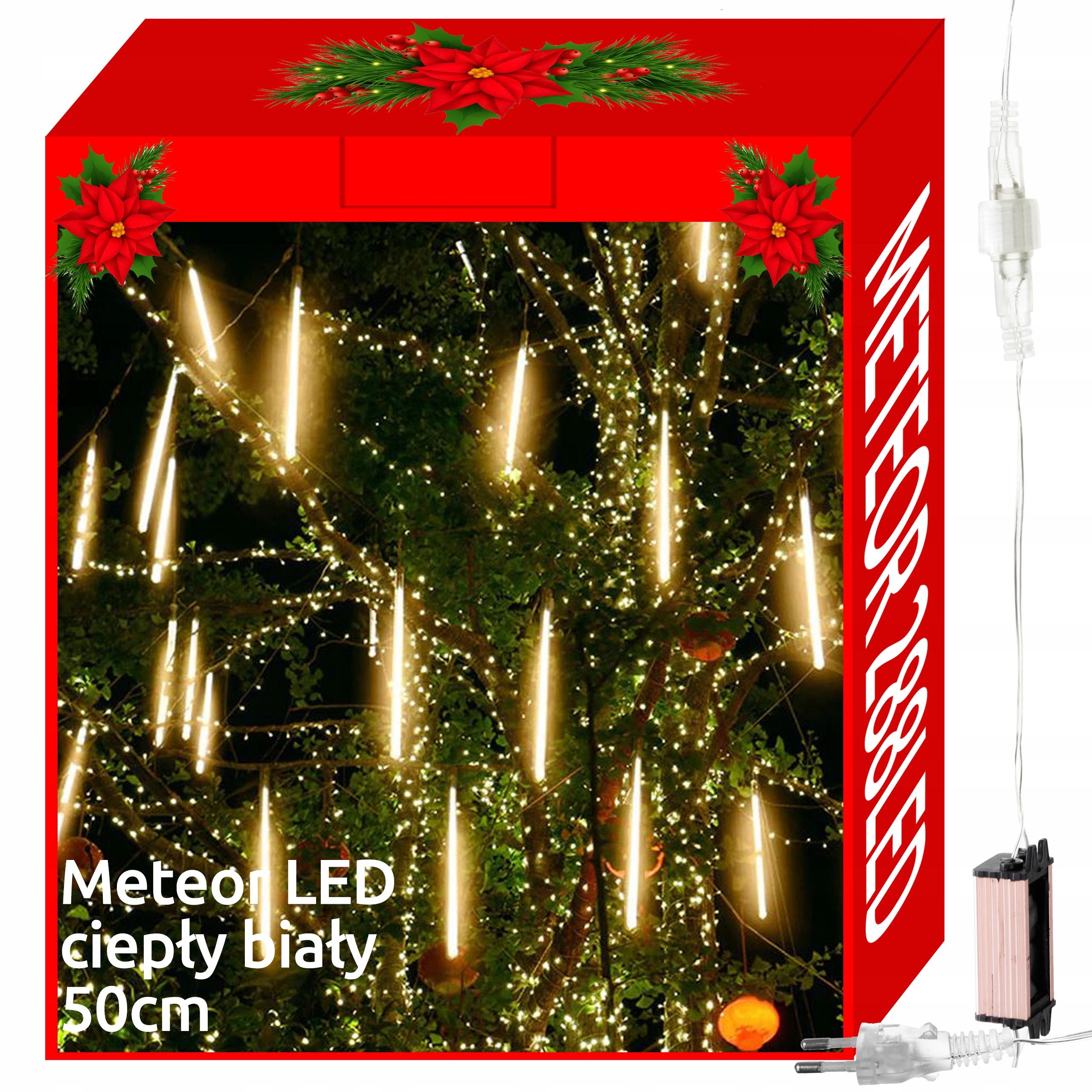 Sople Meteory Lampki Padający Śnieg 288 LED 50cm c