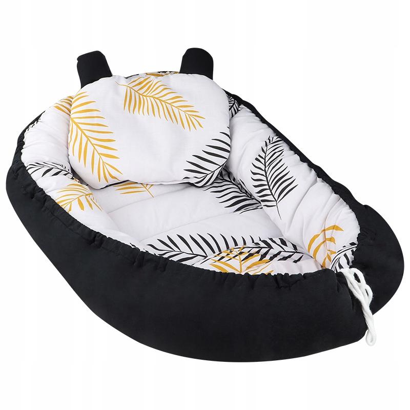 детский кокон из хлопка с подушкой из листьев