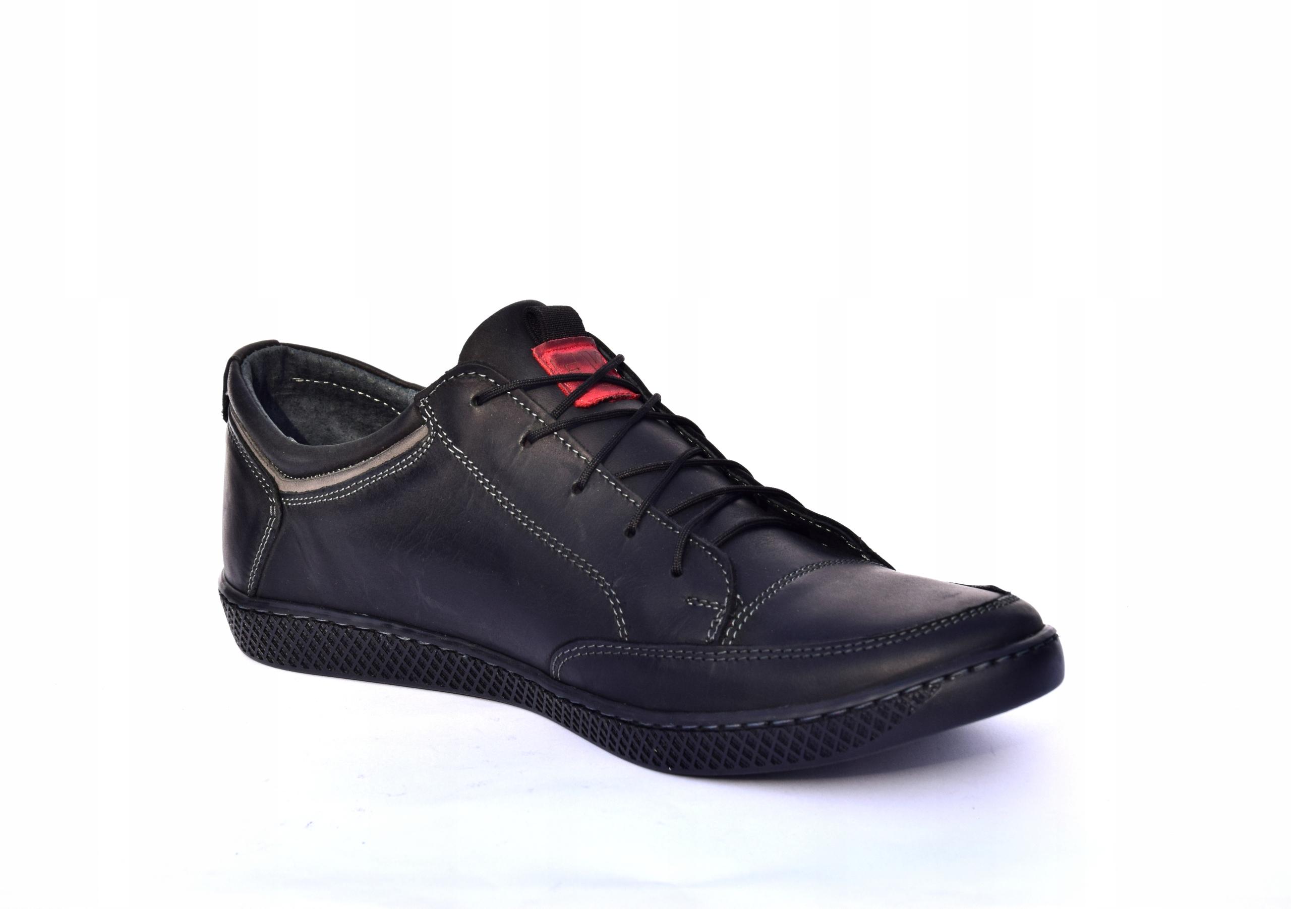 Półbuty sznurowane skórzane obuwie polskie 0447 Długość wkładki 27.3 cm