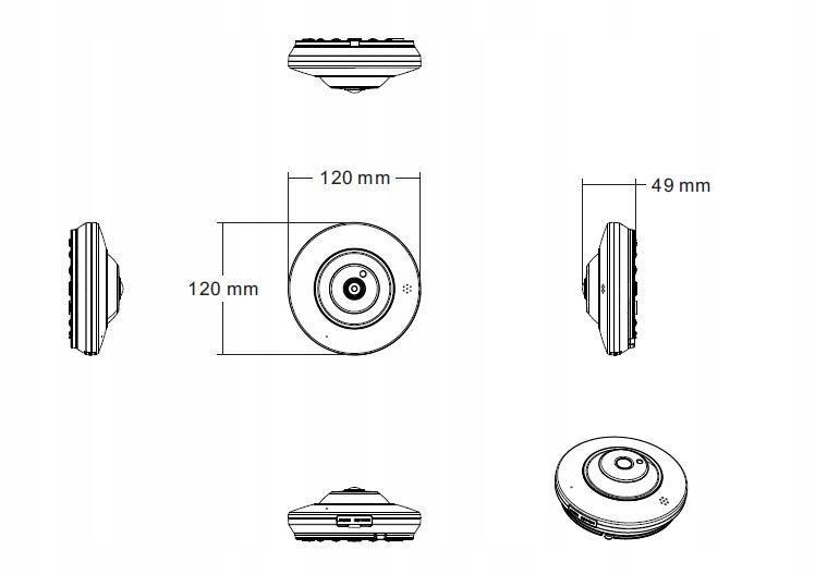 Kamera IP + analog FISHEYE 6MPX RYBIE OKO mSD 360' Zasięg podczerwieni 25 m