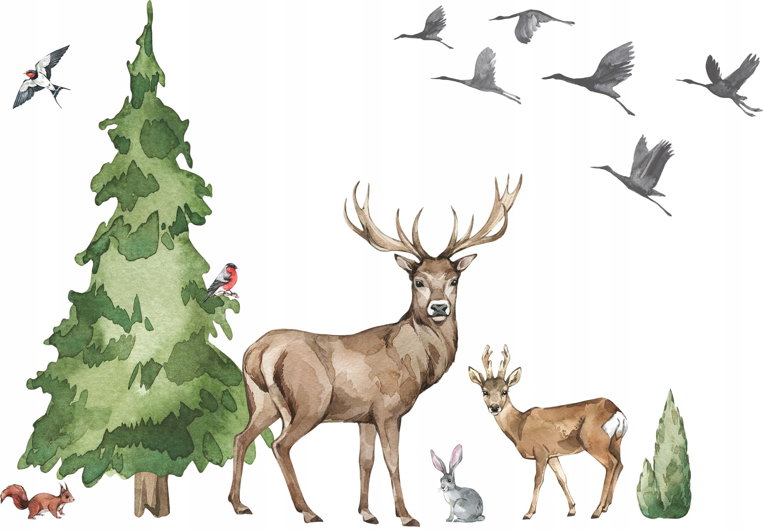 Очень большая наклейка на стене дерева лесного оленя