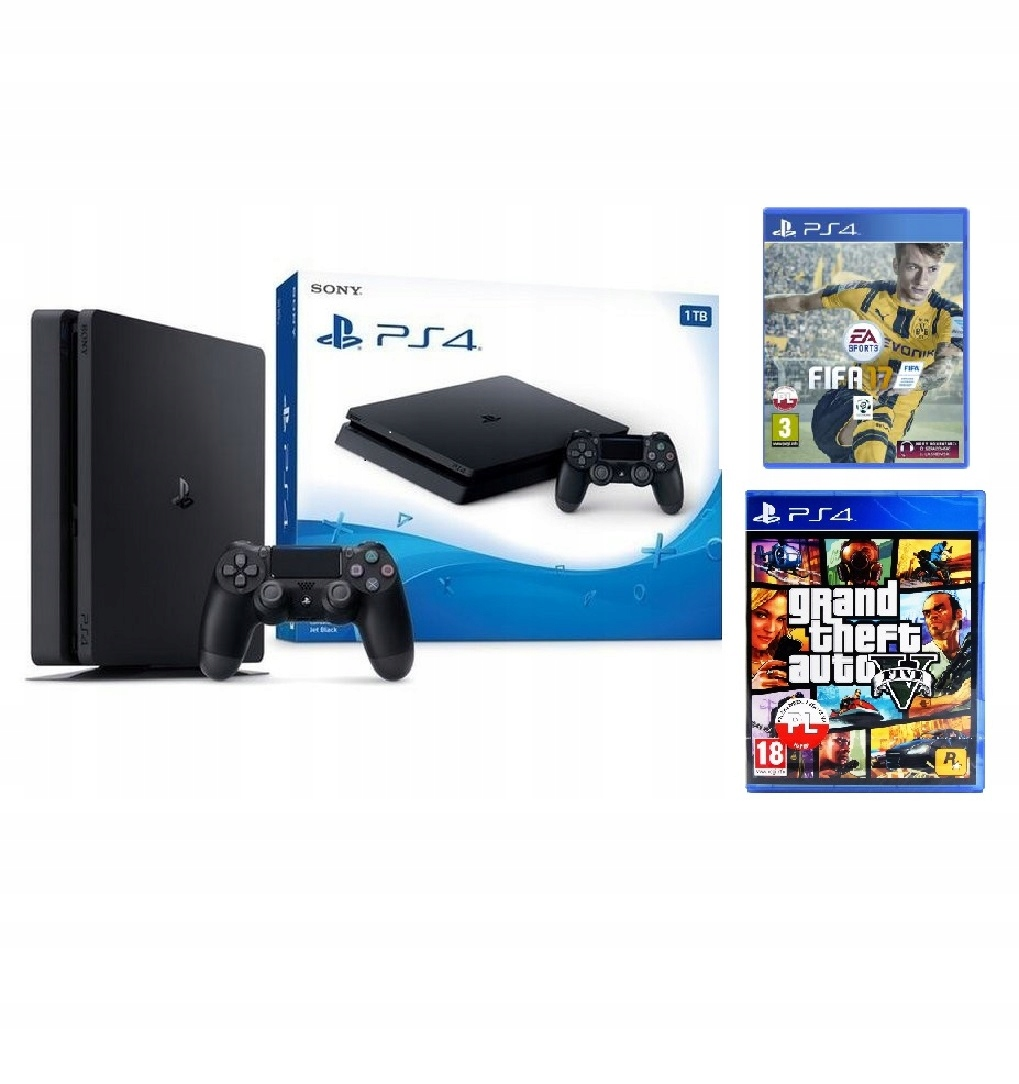 PlayStation 4 Slim 1TB + Pad + GTA 5 PL + Fifa PS4